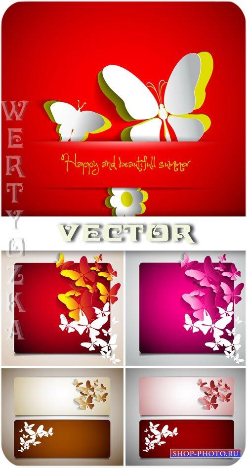 Баннеры с бабочками / Banners with butterflies - vector clipart