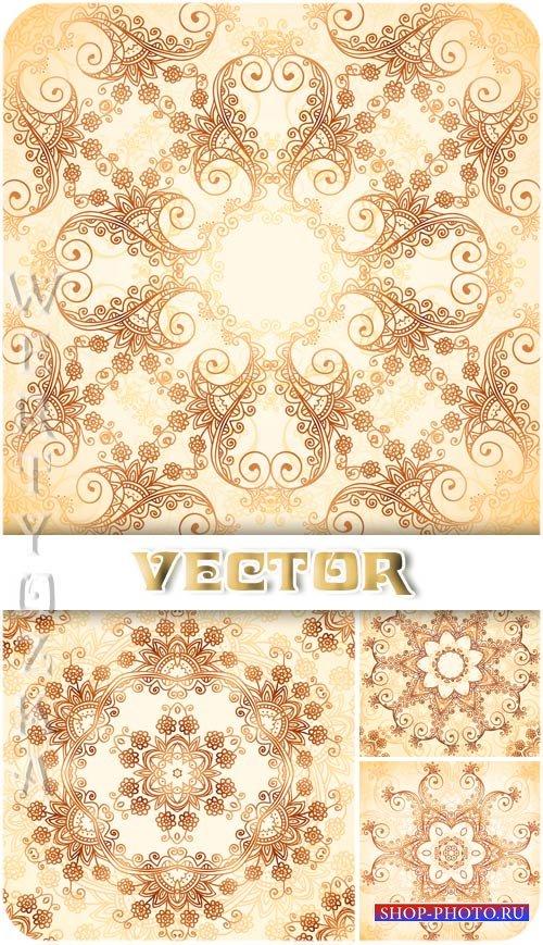 Цветочные золотые узоры / Gold floral patterns - vector clipart