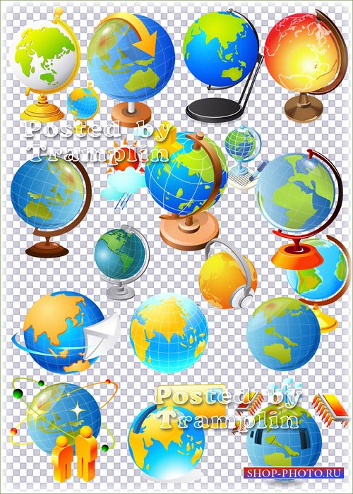 Клипарт в Psd – Нарисованные глобусы и земной шар