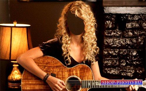 PSD шаблон - Девушка с гитарой в руках