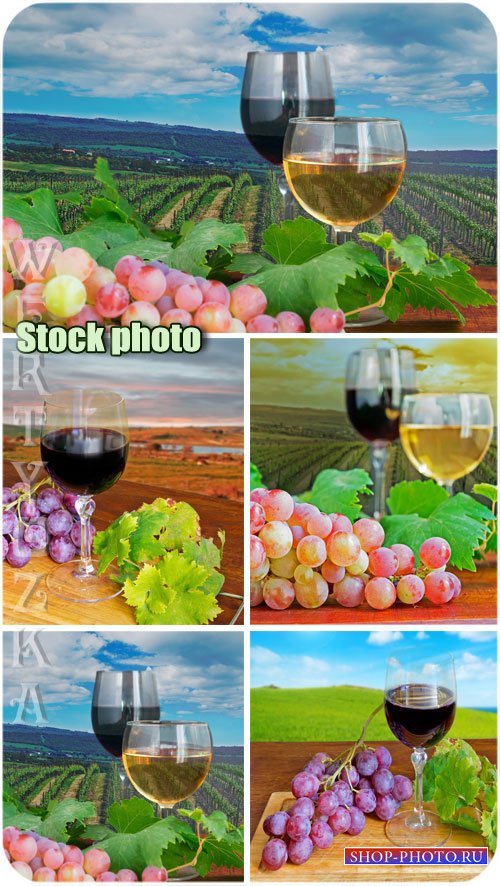 Бокалы вина и виноград / Glasses of wine and grapes - Raster clipart