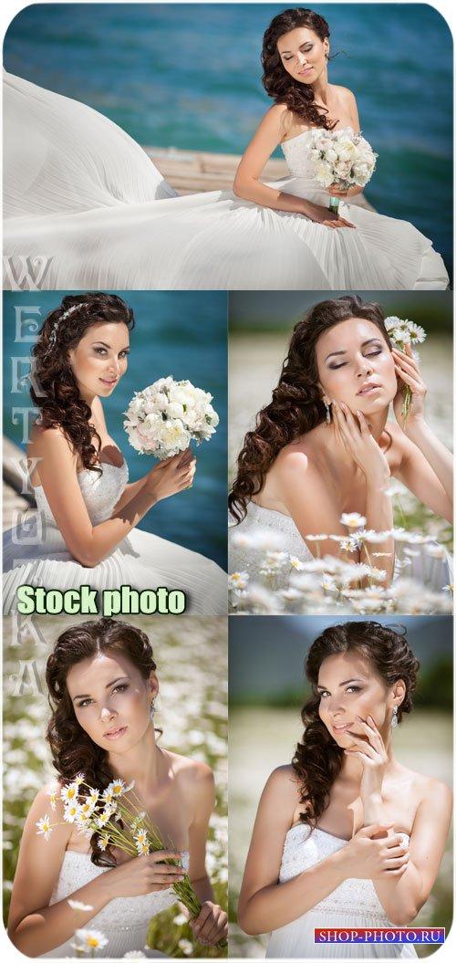 Невеста с цветами - растровый клипарт
