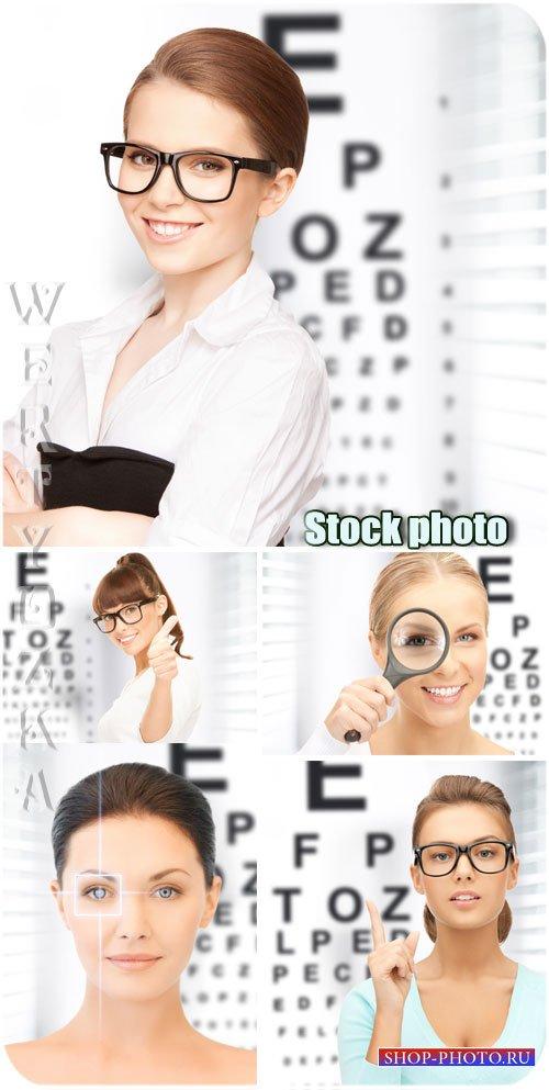 Проверка зрения /  Vision testing - Raster clipart