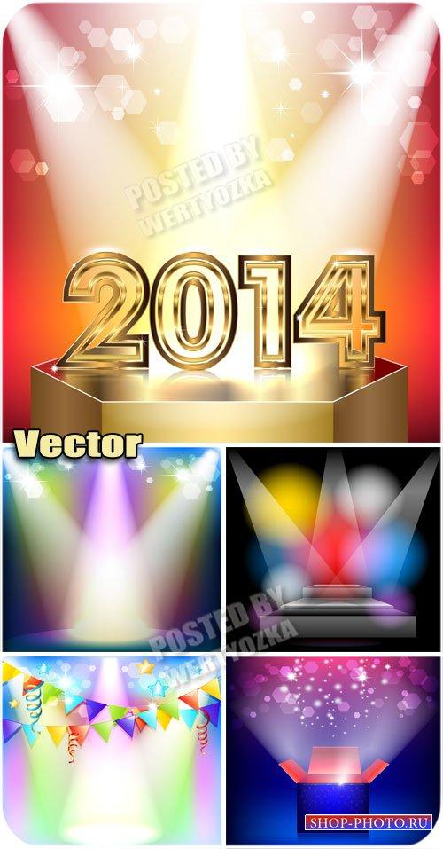 Разноцветное сияние прожекторов / Multi-colored glow of spotlights - vector