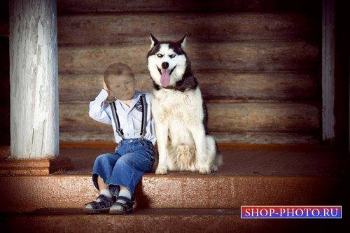 Шаблон для детей - Мальчик с голубоглазой собакой