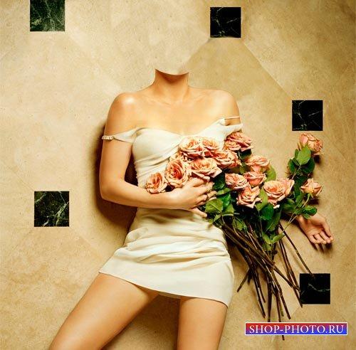 Шаблон для фотомонтажа - Фотосессия с цветами