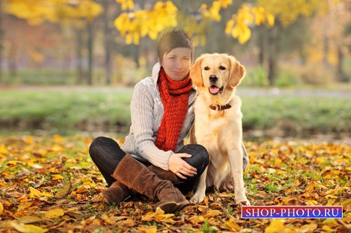 Прогулка с собакой - женский шаблон