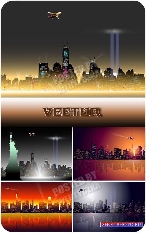 Яркие огни ночного города / Bright lights of the city at night - vector
