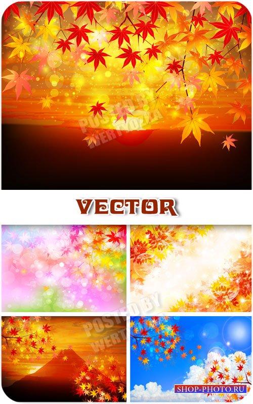 Осенние фоны с желтыми листьями / Autumn background with yellow leaves - ve ...