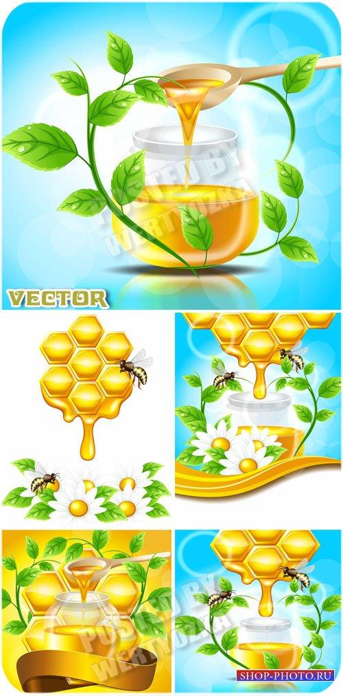 Мед, нектар и пчелы / Honey, nectar and bee - vector