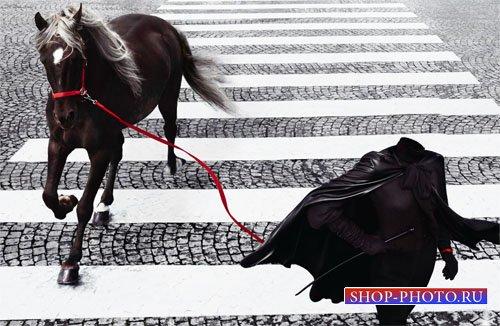 Шаблон для фото - Девушка с красивой лошадкой на переходе