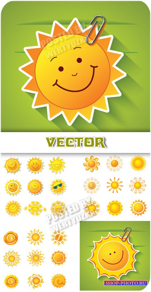 Солнышко / Sun, background with the sun - vector clipart