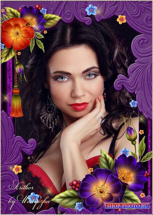 Цветы шиповника - рамка для фотошопа
