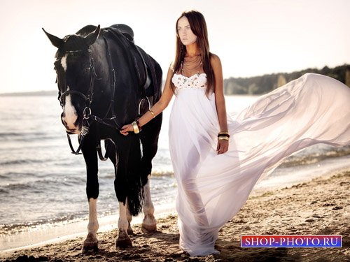 Шаблон для фото - Девушка с лошадью вдоль океана