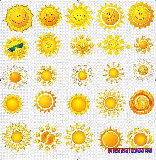 Клипарт - красивые солнышко с выражением эмоций PSD прозрачный фон