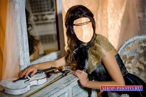 Шаблон для фотомонтажа - Брюнетка в наряде у зеркала