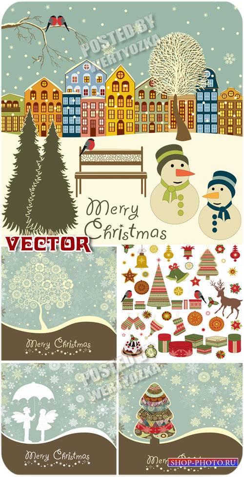 Новогодние фоны в ретро стиле / Christmas background in retro style - stock ...