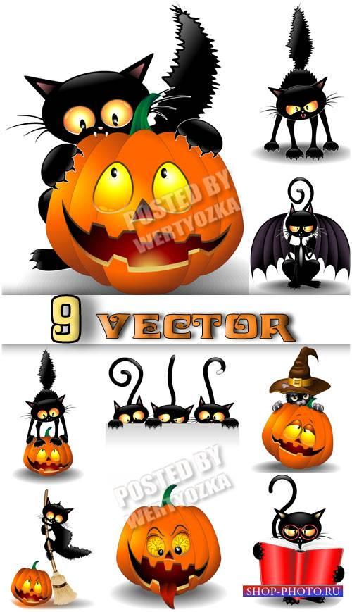 Черная кошка и тыква на хэллоуин / Black cat and pumpkin on Halloween - sto ...