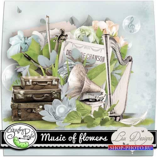 Винтажный музыкальный скрап-комплект - Цветочная музыка