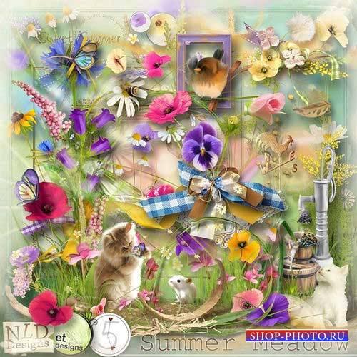 Яркий цветочный скрап-комплект - Летний луг