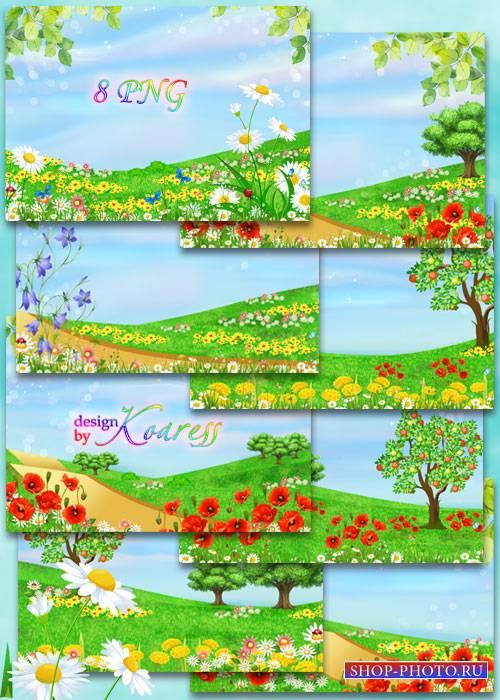 Детские летние фоны с яркими луговыми цветами
