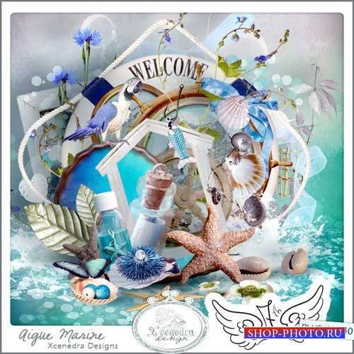 Роскошный морской скрап-комплект - Аквамарин