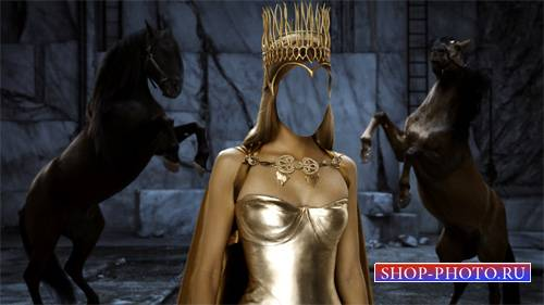 Шаблон для фотомонтажа - Королева с короной на фоне лошадок
