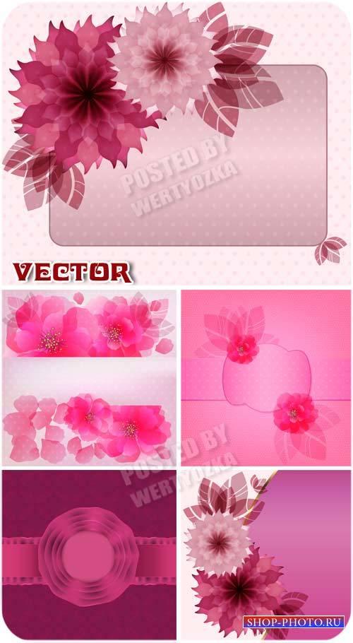 Векторные розовые фоны с красивыми цветами / Vector pink background with be ...