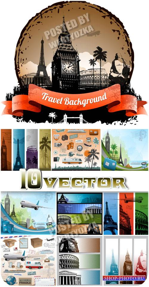 Путешествия, векторные фоны и баннеры / Travel, vector backgrounds and bann ...