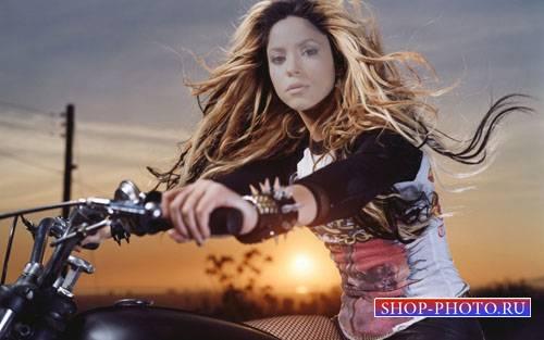 Шаблон женский - Прогулка на мотоцикле на закате солнца