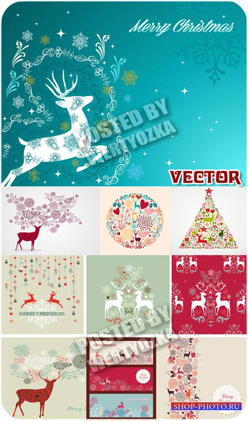 Винтажные новогодние фоны с оленями / Vintage Christmas background - vector ...