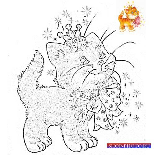 Разукрашка для детей - Котик в короне и с бантиком