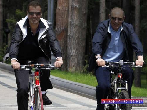Шаблон psd - Катание на велосипеде по парку с главой государства