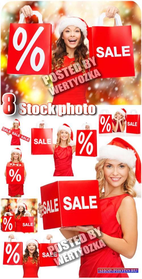Зимняя распродажа, очаровательные девушки / Winter sale  - stock photos