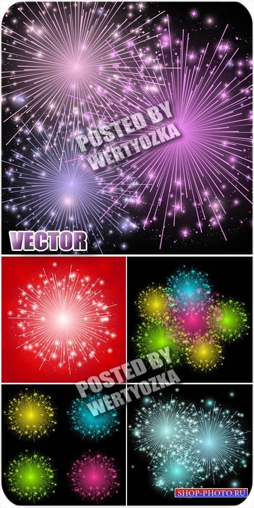 Разноцветные салюты / Colorful fireworks - vector stock