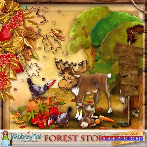Очаровательный осенний детский скрап-комплект - Лесная история