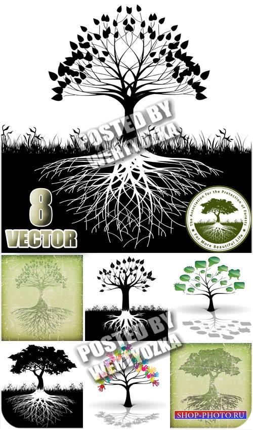 Дерево с корнями, винтаж, креатив / Tree with roots - stock vector