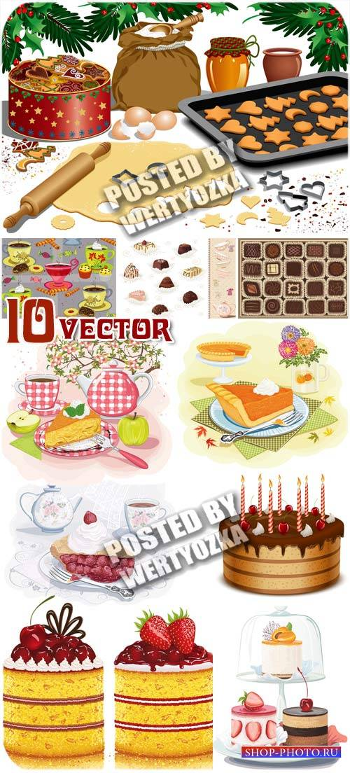 Сладости, тортики, конфеты, печенье / Sweets, cakes, candy, cookies - stock ...