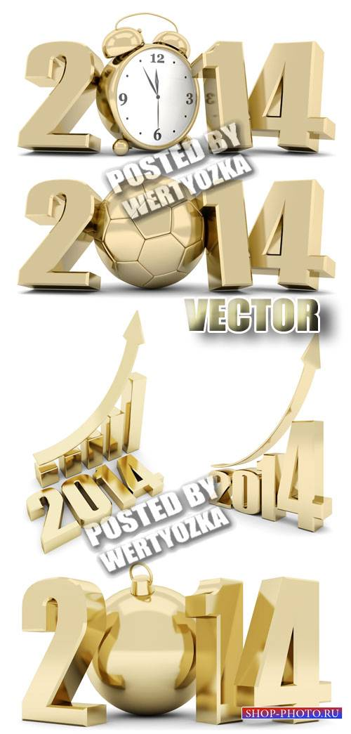 Золотые надписи 2014 / Gold lettering 2014 - stock photos