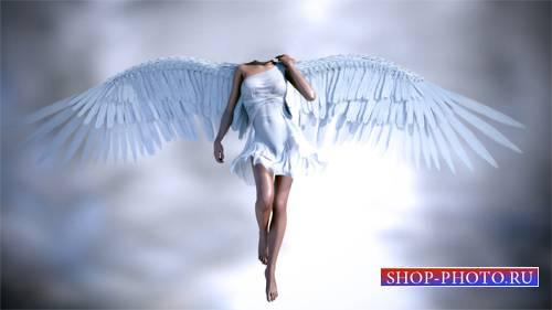 Шаблон для photoshop - Девушка ангел в небе