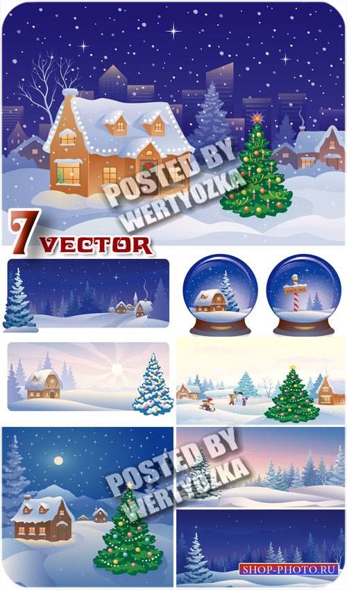 Зимние фоны с домиком и елкой / Winter background with a house and a tree - stock vector
