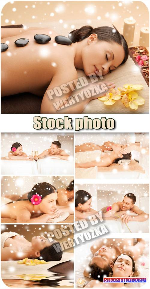 Спа процедуры, массаж камнями / Spa treatments, massage stones - stock phot ...