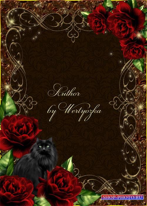 Рамка для фотошопа - Черная кошка и чудесные розы