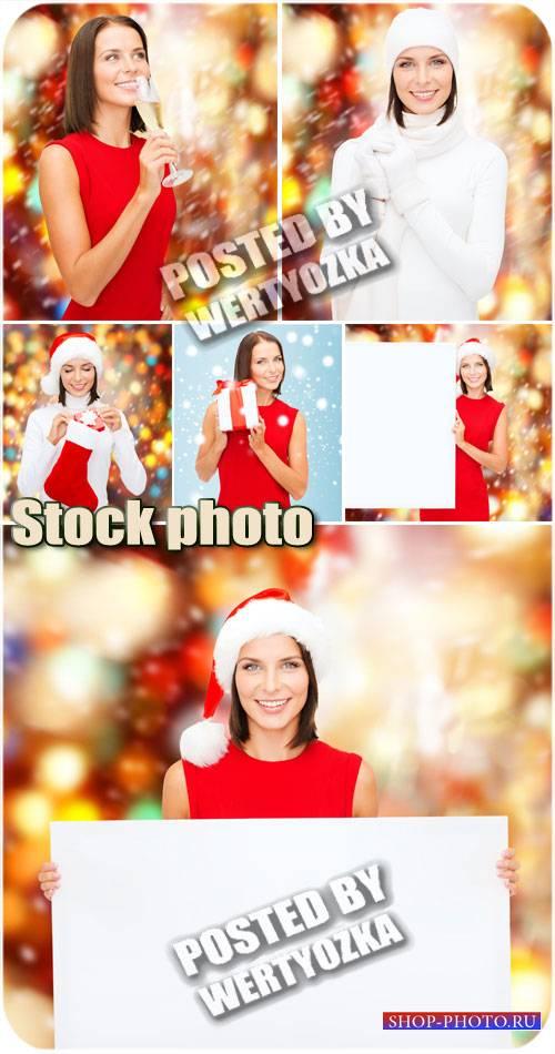 Новогодняя девушка с плакатом / Christmas girl with a poster - stock photos