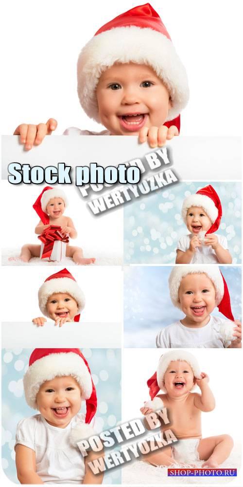 Малыш в шапке санты / Kid in Santa hats - stock photos