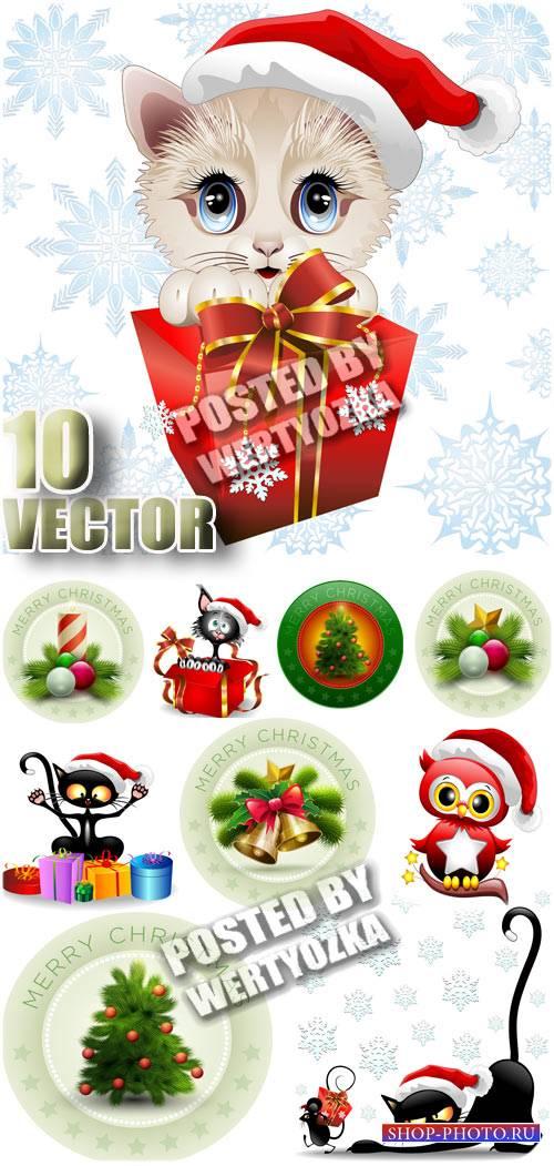 Новогодние кошки, стикеры с елочкой и колокольчиками / Christmas cats - sto ...