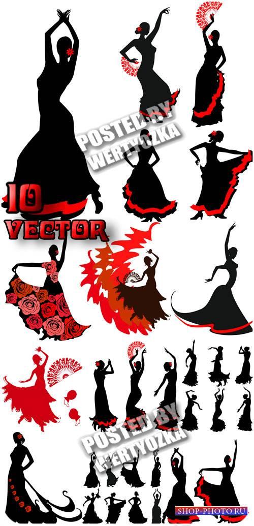 Фламенко - танец страсти и любви, вектор / Flamenco - dance of passion and  ...