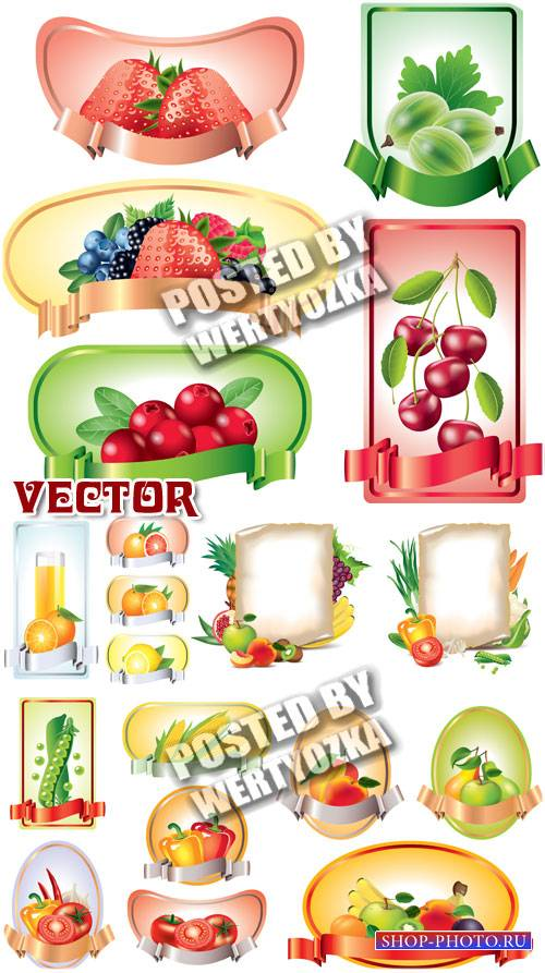 Этикетки с  фруктами и овощами / Labels with fruits and vegetables - stock  ...