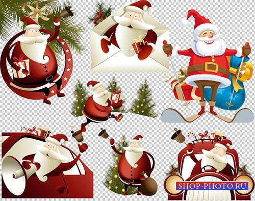 Клипарт - Новогодний дед мороз в конверте на автомобиле с подарками на проз ...