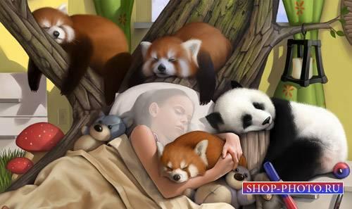 Крепкий сон среди милых зверьков - детский шаблон